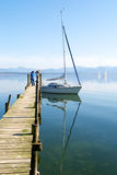 Sailing boats parking in Chiemsee lake pier Royalty Free Stock Images