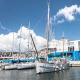 Sailing boats in the port of Genoa, Italy Royalty Free Stock Photos