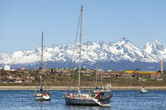 Sailing boats in port of Ushuaia. Royalty Free Stock Photography