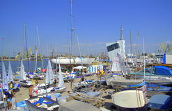Sailing boats preparation for race. Many yachts at dock in preparation for the next race of the 420&470 Junior European Championship,Yacht Port,Burgas,Bulgaria stock images