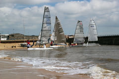 Sailing boats preparing to race. Stock Photography