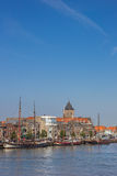 Sailing boats at the quay in Kampen Stock Image