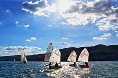 Sailing boats racing. Kids racing in class Optimist sailboats regatta on Iskar Lake,Sofia Bulgaria. Picture taken on October 14th 2017 Royalty Free Stock Image