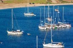 Sailing boats raft-up Stock Photo