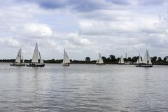 Sailing boats on the river royalty free stock photography