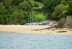 Sailing boats on Salcombe, Devon beach Stock Images