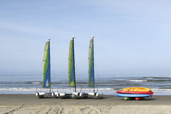 Sailing boats on sandy beach Royalty Free Stock Image
