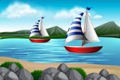 Sailing boats in the sea. Illustration vector illustration
