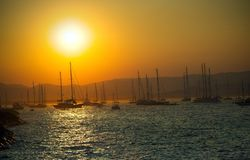 Sailing boats on sea at sunset. Mediterranean landscape in Saint Tropez, France at sunset Royalty Free Stock Photo