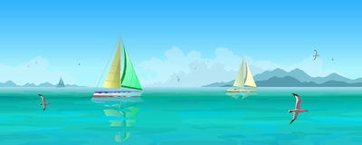 Sailing boats and seagulls flying over blue ocean. Seascape. Sailing boats and seagulls flying over blue ocean. Mountains and clouds in the background. Stock Royalty Free Stock Photo