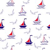 Sailing boats and seagulls. Seamless vector illustration pattern for fabric, clothes/accessories, background, textile, wrapping paper and other decoration royalty free illustration