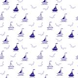 Sailing boats and seagulls seamless pattern, textile, surface design. Wrapping paper, scrap-booking. Vector seamless pattern vector illustration