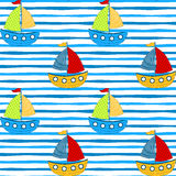 Sailing boats seamless pattern. Sailing children boats seamless pattern background royalty free illustration