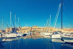 Sailing boats on Senglea marina in Grand Bay, Valetta, Malta Royalty Free Stock Image