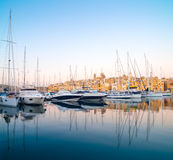 Sailing boats on Senglea marina in Grand Bay, Valetta, Malta. On a bright sunny morning, panoramic image Royalty Free Stock Photo