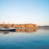 Sailing boats on Senglea marina in Grand Bay, Valetta, Malta. On a bright sunny morning, panoramic image Royalty Free Stock Photo