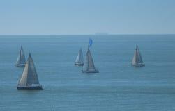 Sailing boats. Start of a regatta of sailing boats Stock Photos