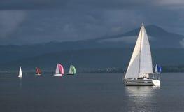Sailing boats by stormy weather, Geneva lake, Royalty Free Stock Image