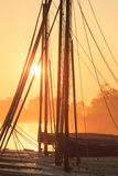 Sailing boats at sunrise Royalty Free Stock Image