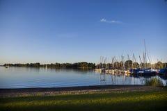 Sailing boats at sunset Stock Image