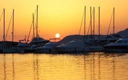 Sailing boats at sunset Royalty Free Stock Photos