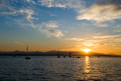 Sailing boats at sunset Royalty Free Stock Images