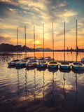 Sailing boats at sunset at the Alte Donau in Vienna Stock Photo