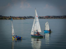 Sailing boats team on the lake royalty free stock image