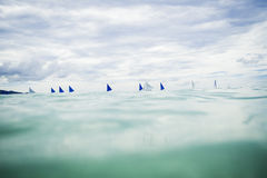 Sailing boats. There are beautiful blue sailing at sea stock image
