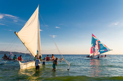 Sailing boats with tourists Royalty Free Stock Photos