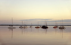 Sailing boats in the twilight Royalty Free Stock Images