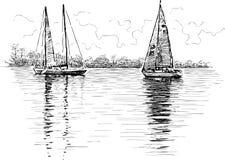 Sailing boats. Vector drawing of the sailing yachts royalty free illustration