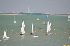 Sailing Boats. With a view to the Spinaker Tower royalty free stock image