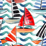 Sailing boats watercolor seamless background Royalty Free Stock Photo