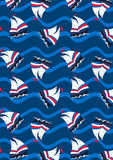 Sailing boats on waves in a repeat pattern.  vector illustration
