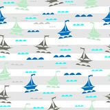 Sailing boats on waves. Seamless vector illustration pattern for fabric, clothes/accessories, background, textile, wrapping paper and other decoration stock illustration