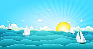 Sailing Boats In Wide Summer Ocean. Illustration of a cartoon wide ocean landscape with yachts and sailing boats for spring or summer holiday vacations stock illustration