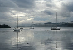 Sailing boats on Windermere. Sailing boats on Lake Windermere in English Lake District Stock Images