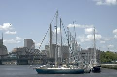 Sailing boats and Zakim bridge Stock Image