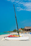 Sailing boatson a sunny day at Varadero beach in Cuba Stock Images
