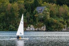 Sailing at Bohinj lake, Slovenia Stock Photo