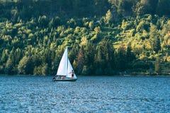 Sailing at Bohinj lake, Slovenia Stock Photography