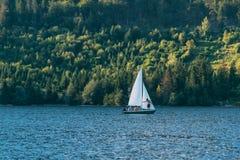 Sailing at Bohinj lake, Slovenia Royalty Free Stock Image