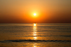 Sailing boot sunset Stock Photo