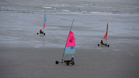 Sailing buggies at beach of Boulogne sur mer Stock Images