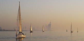 Sailing in the Calm Arabian Gulf Evening Stock Photo