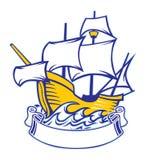 Sailing caravel. Vector of sailing caravel with blank ribbon stock illustration