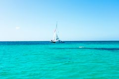 Sailing on the Caribbean Sea at Aruba island. Sailaing on the Caribbean Sea at Aruba island in the Caribbean Sea Royalty Free Stock Photography