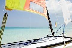 Sailing in the Carribean Beach. Hobie Cat in Cuba Santa Maria Caribbean Sea Royalty Free Stock Photos