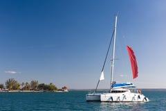 Sailing in Carribean. Catamaran sailing in the Carribean, Cuba Royalty Free Stock Photos